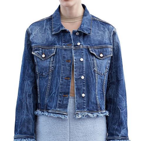 Tram Fringe Light Blue Vintage Denim Jacket