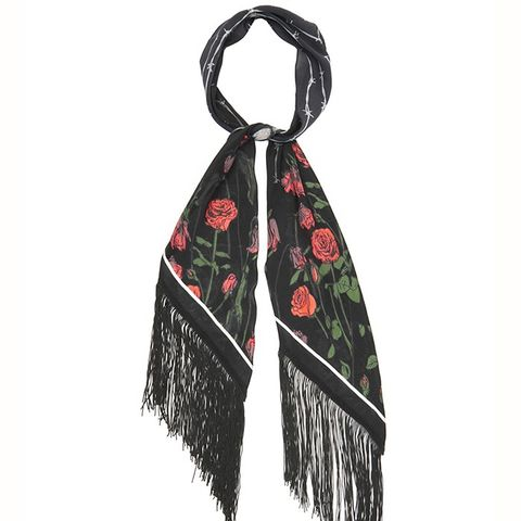 Rose-Print Classic-Skinny Silk Scarf