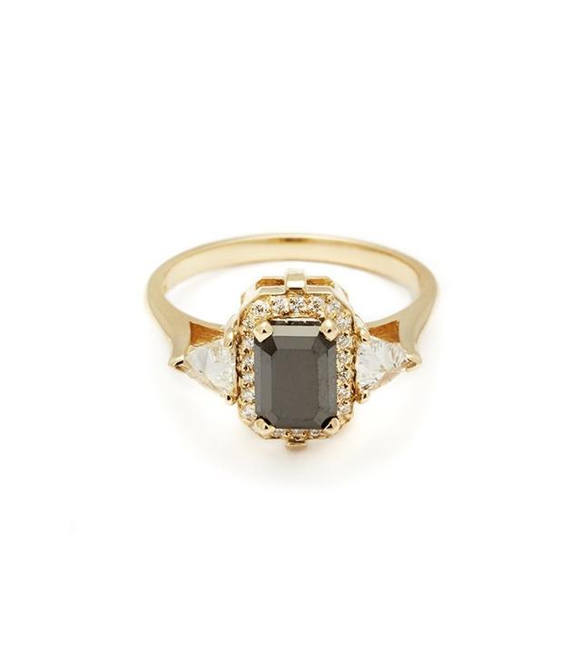 Anna Sheffield Bea Halo Ring in Black Diamond