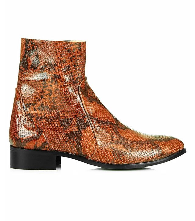 Topshop Aero Snake-Effect Sock Ankle Boots