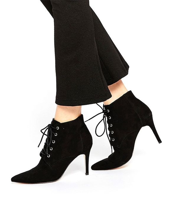 Faith Stuzt Black Lace Up Heeled Boots