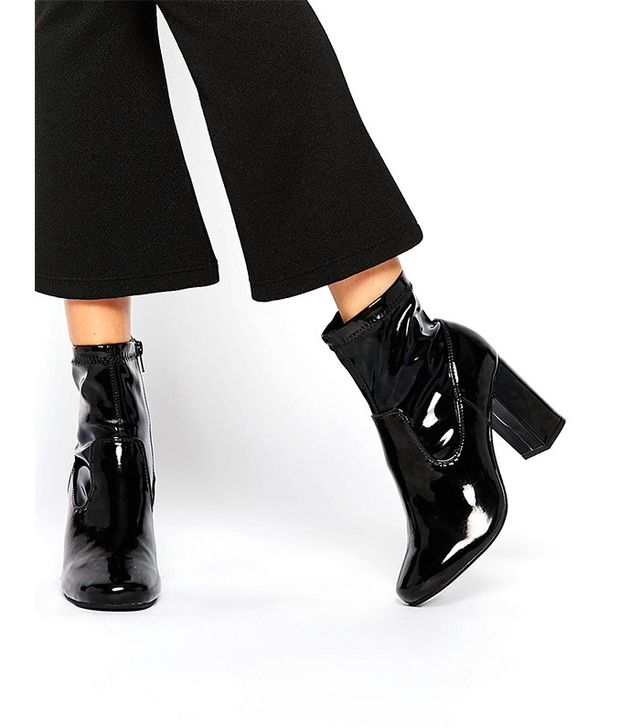 River Island Patent Block Heeled 60s Boots