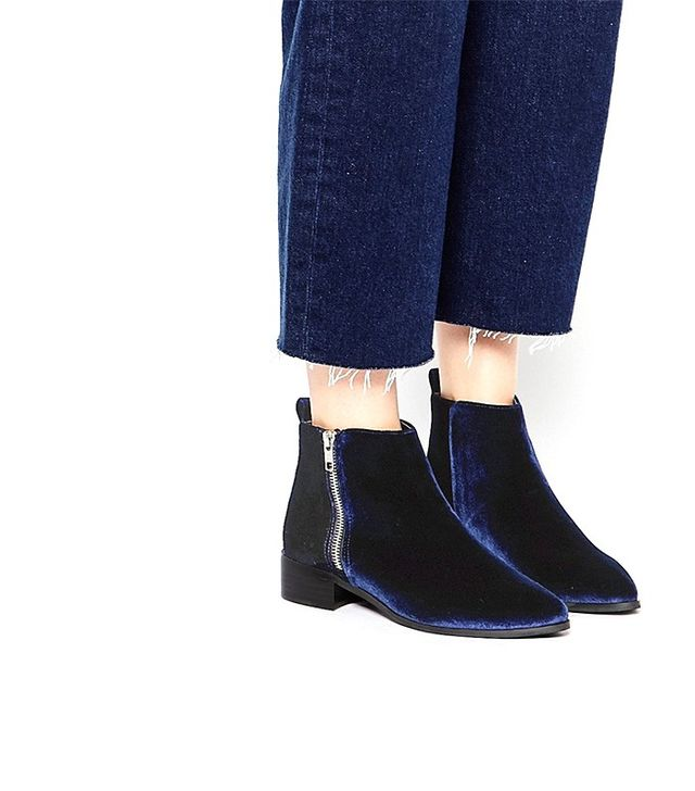 ASOS Astronomical Pointed Velvet Ankle Boots