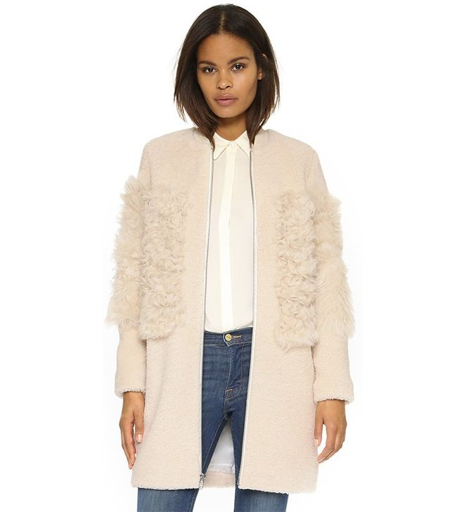 Loeffler Randall Blocked Shearling Coat