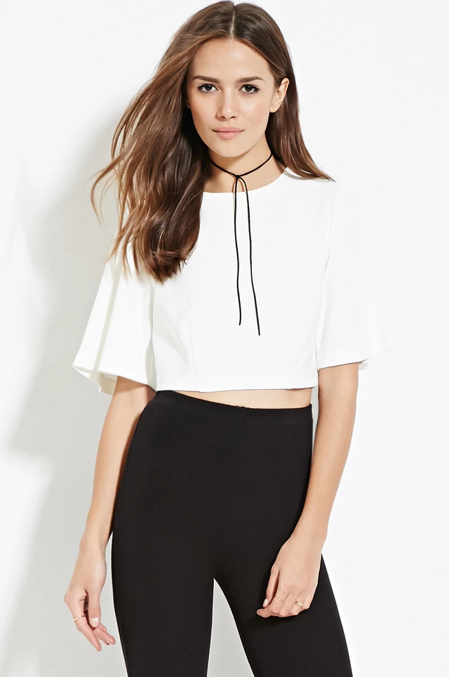 Forever 21 Contemporary Zip-Back Crop Top