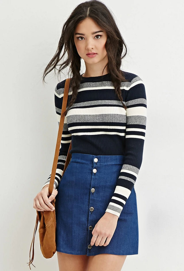 Forever 21 Cropped Stripe Sweater