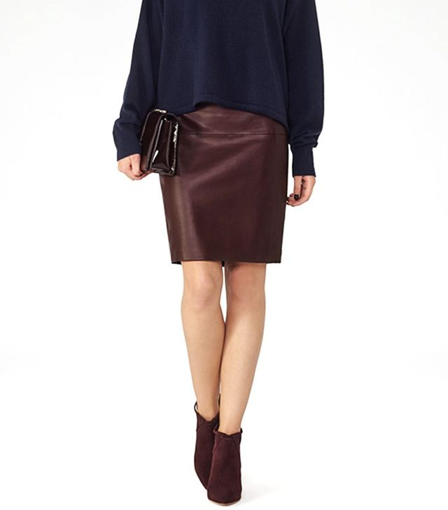 Reiss Cleo Leather Paneled Pencil Skirt