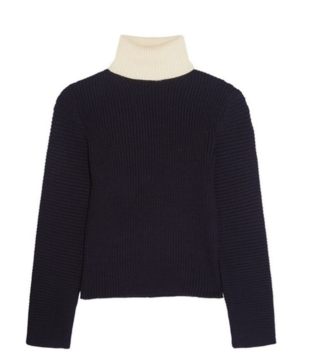 Acne Studios Bryn Two-Tone Ribbed Wool Turtleneck Sweater