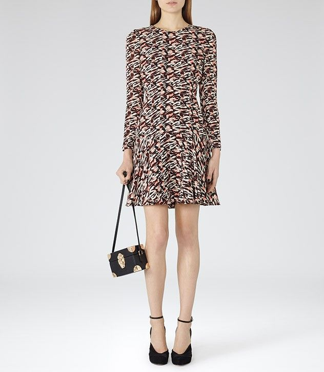 Reiss Printed Fit and Flare Ambrosia Dress