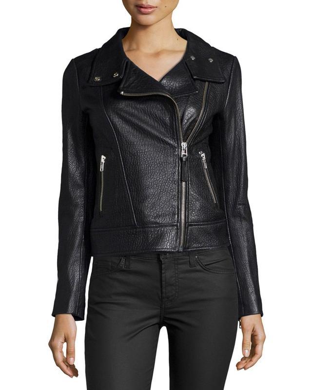 Mackage Embossed Lambskin Leather Moto Jacket