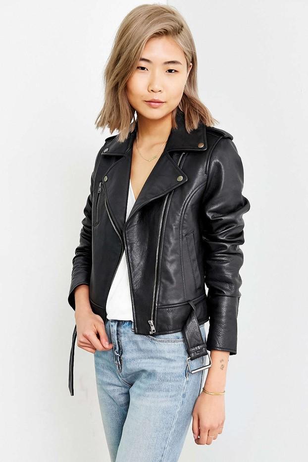 Silence + Noise Tough Leather Moto Jacket