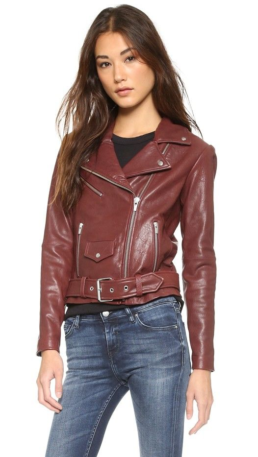 Veda Jayne Classic Leather Moto Jacket