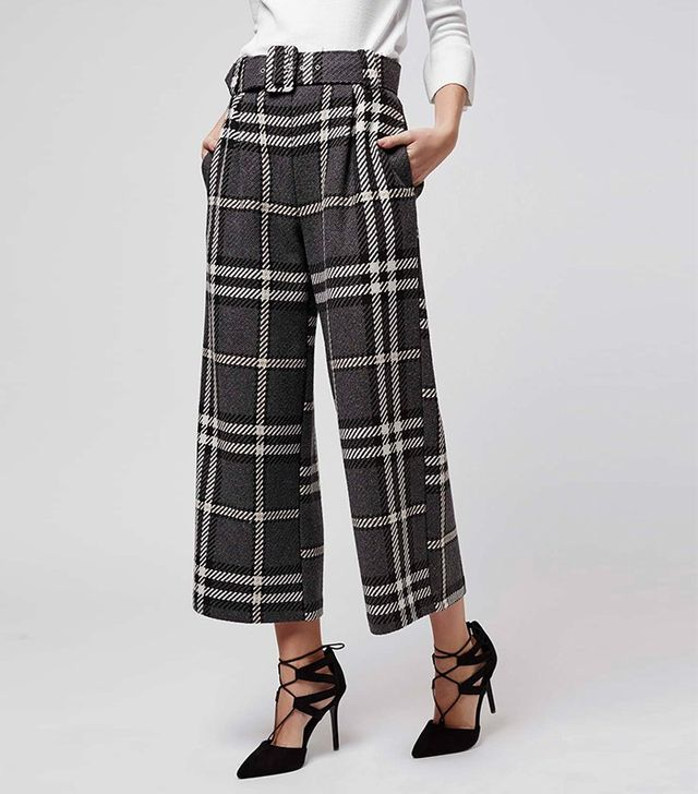 Topshop Check Belted Wide Cropped Trousers