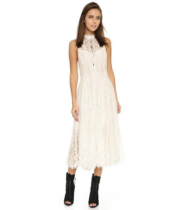 Free People Angel Rays Lace Trapeze Midi Dress