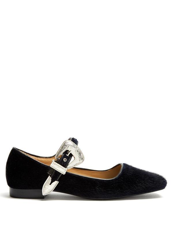 Toga Square-Toe Faux-Fur Leather Ballet Flats