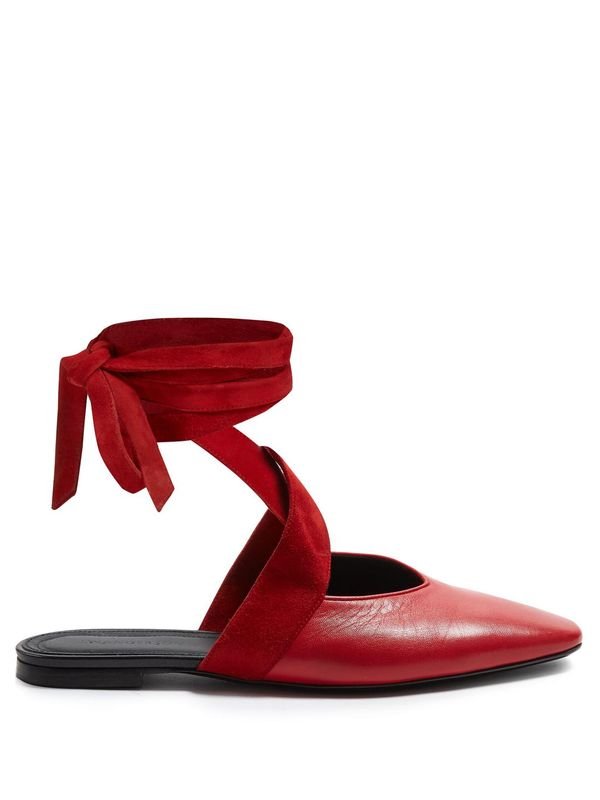 J.W.Anderson Wraparound Leather Backless Ballet Flats