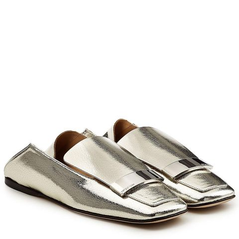Metallic Leather Loafers