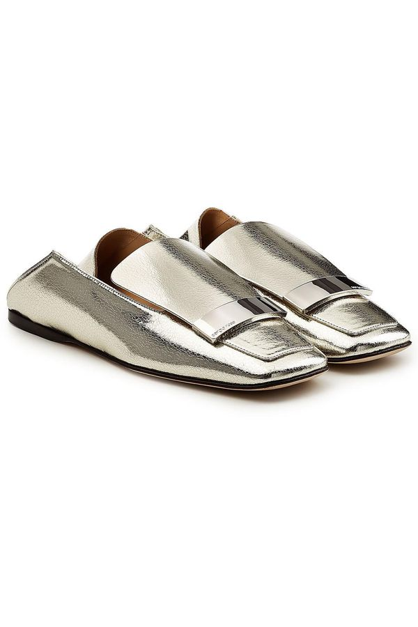 Sergio Rossi Metallic Leather Loafers
