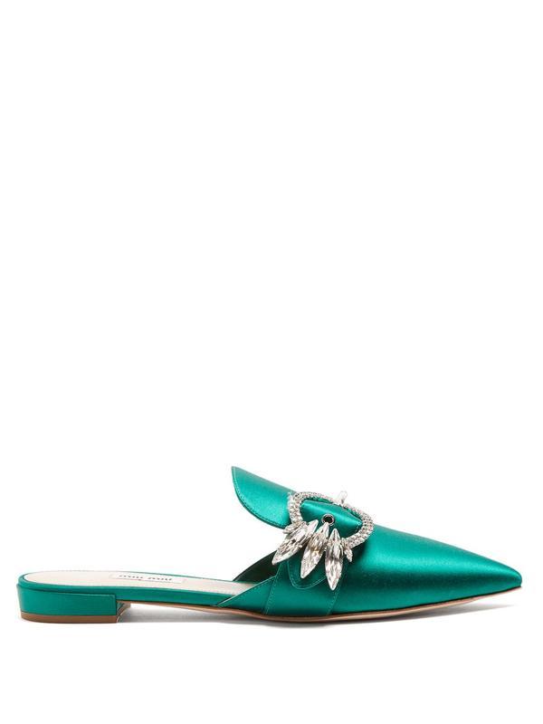Miu Miu Point-Toe Satin Slipper Shoes