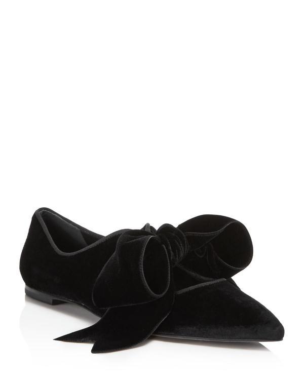 Clara Velvet Pointed Toe Tie Flats