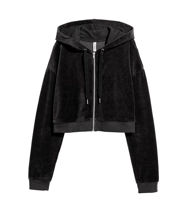 H&M Cropped Hooded Velour Jacket