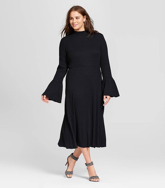 Who What Wear Ruffle Knit Midi Dress