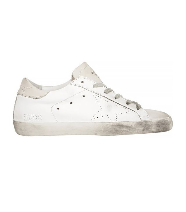 Golden Goose Deluxe Brand Distressed Suede-Paneled Leather Sneakers