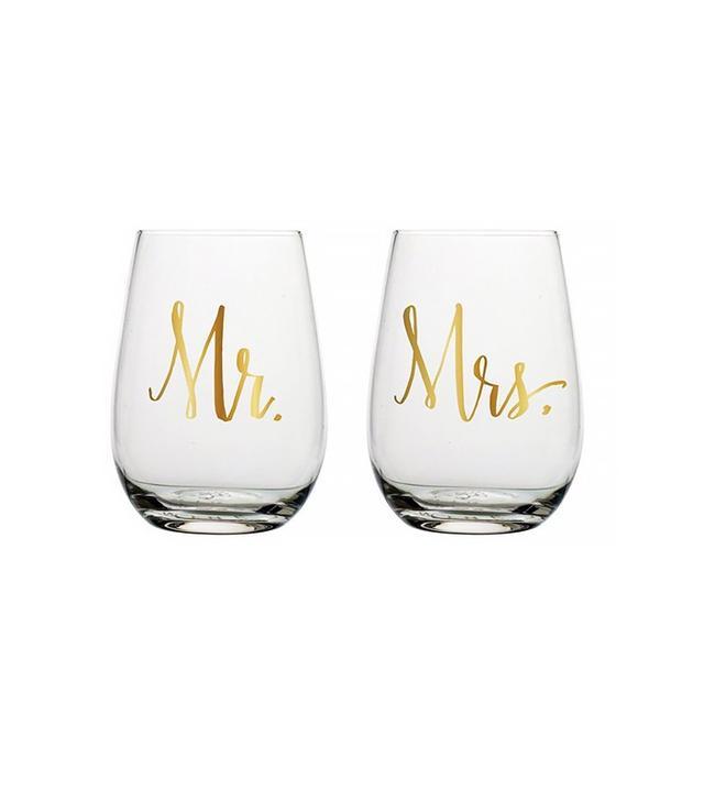 Slant Collections Mr & Mrs Wine Tumblers