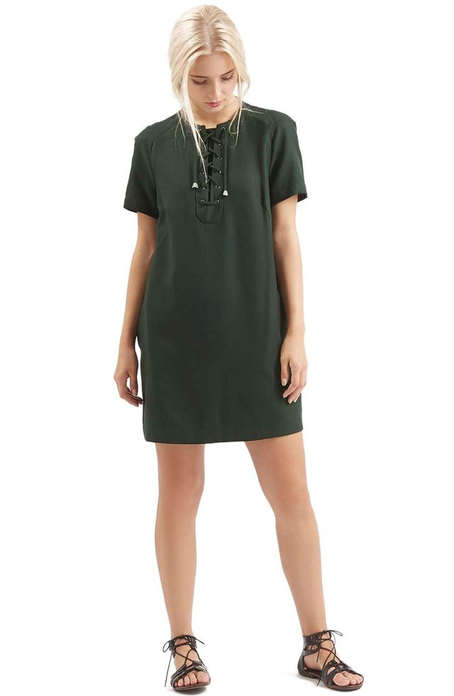 Topshop Lace Up Shirtdress