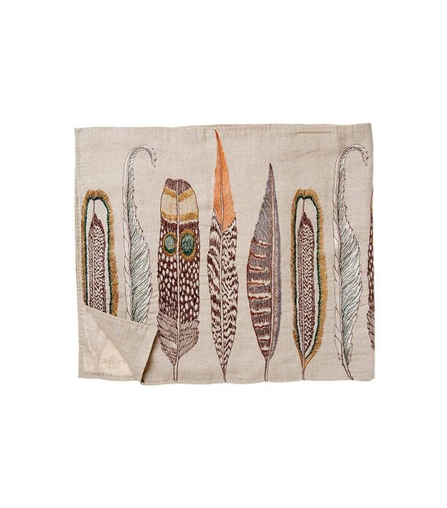 Coral & Tusk Feathers Table Runner