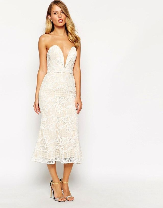 Jarlo Alicia Bandeau Midi Dress in All Over Lace