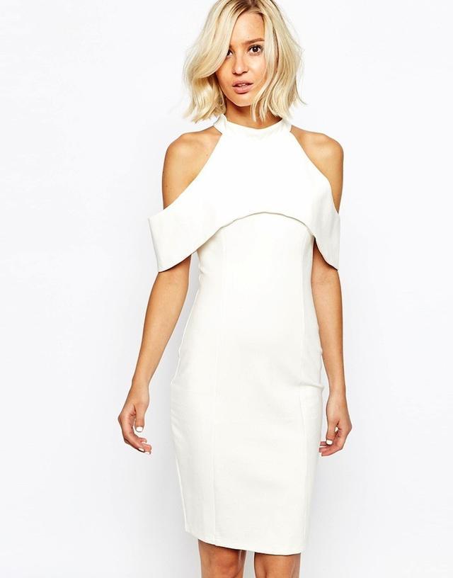 Lavish Alice Midi Dress With Halterneck and Cold Shoulder