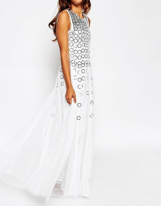 ASOS Red Carpet Mesh Fit and Flare Maxi Dress With Ring Detail