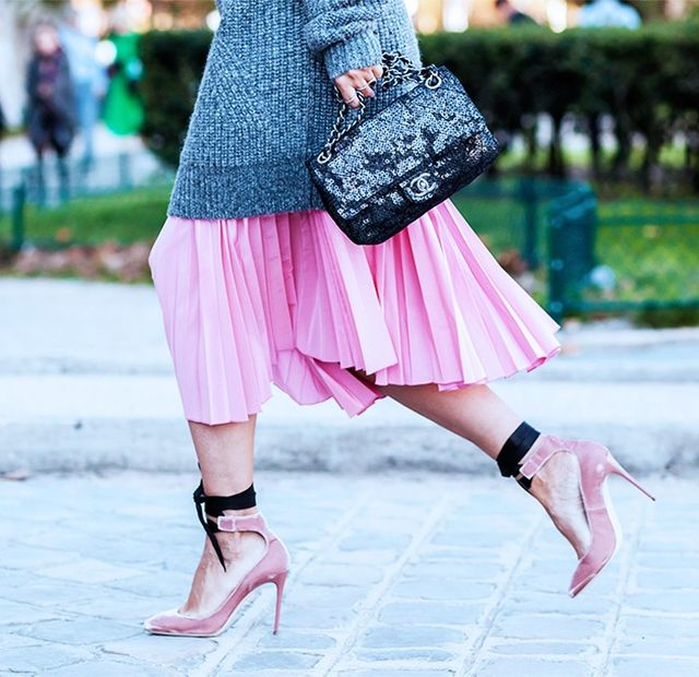 Style Notes: For a layered look, go for a midi skirt that'll show off your amplified footwear but go long with your chunky knits for a more flattering, elegant silhouette.