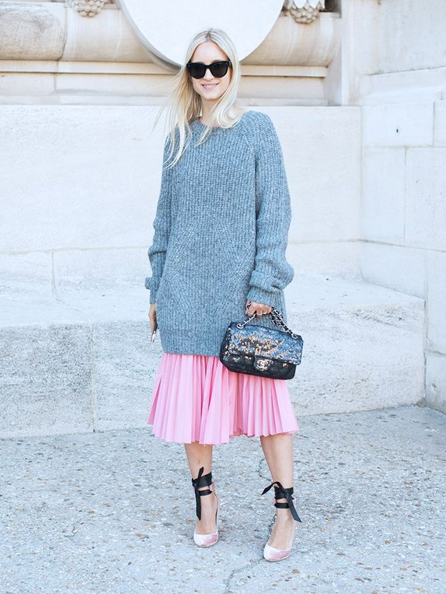 Outfit #1: Charlotte Groeneveld's Chunky Knit and Pleated Midi Skirt