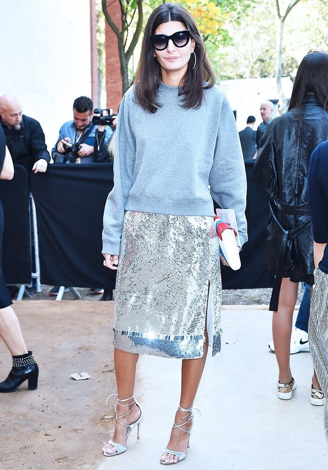 Style Notes: With this half off-duty/half cocktail-hour combination locked down, it's important to register that the shoes are best matched with the skirt's style. Case in point—Giovanna...
