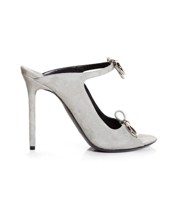 Balenciaga Boucle-Bow Suede Mule Sandals