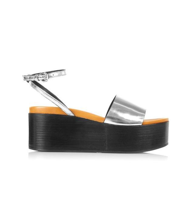 McQ Alexander McQueen Lotta Metallic Leather Wedge Sandals