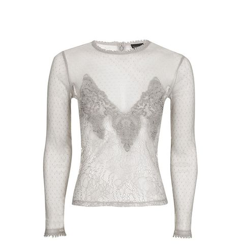 Sequin Lace Mesh Long Sleeve Top