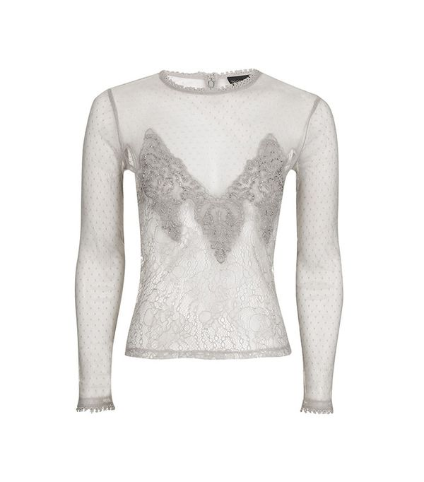 Topshop Sequin Lace Mesh Long Sleeve Top