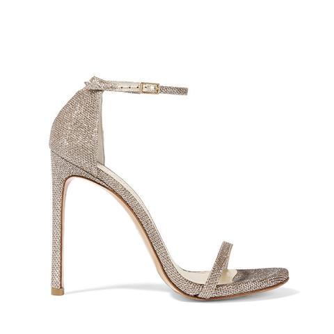 Nudist Metallic Mesh Sandals