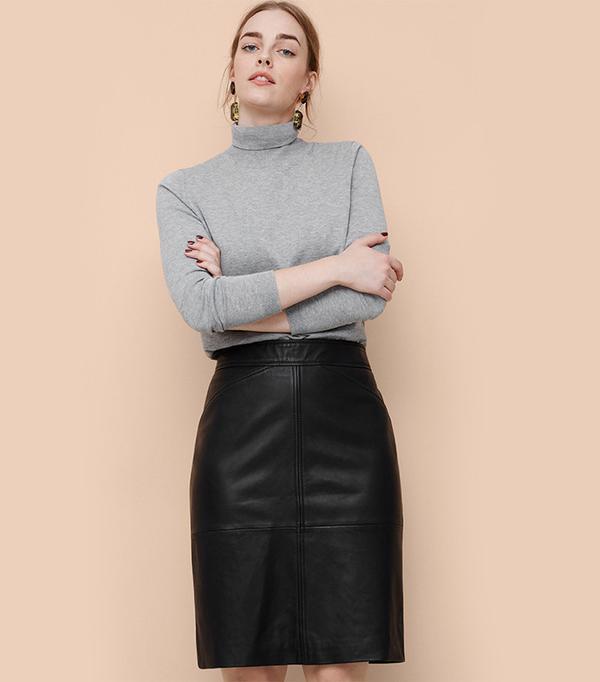 Violeta for Mango Leather Skirt