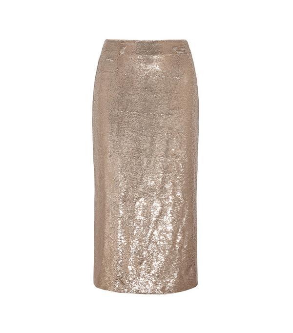 IRO Bump Sequined Twill Midi Skirt