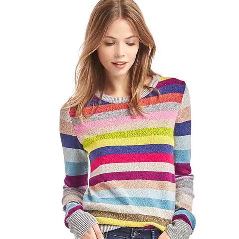 Crazy Stripe Shimmer Merino Wool Blend Sweater
