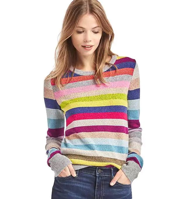 Gap Crazy Stripe Shimmer Merino Wool Blend Sweater