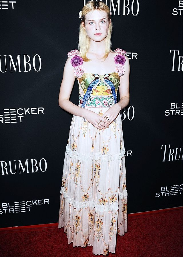 On Fanning: Gucci dress.