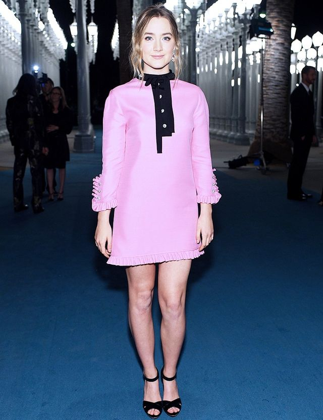 On Ronan: Gucci Silk-Wool Shirt Dress (£1510).