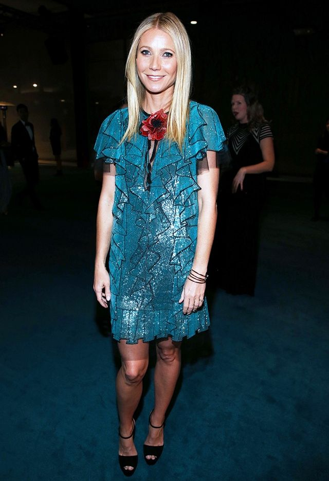 On Paltrow: Gucci dress.