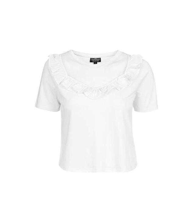Topshop Ruffle Mesh T-Shirt
