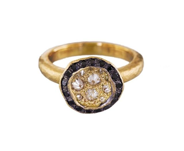 Todd Pownell Inverted Diamond Crater Ring with Black Diamond Rim